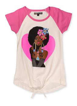 Girls 7-16 Afro Girl Tie Front Tee - 3635075540102