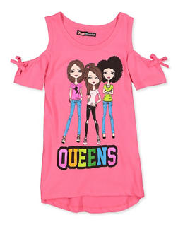 Girls 7-16 Queens Graphic Cold Shoulder Top - 3635075540111