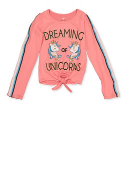 Girls 7-16 Dreaming of Unicorns Tie Front Top - 3635075540125