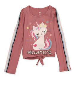 Girls 7-16 Striped Tape Meowgical Tee - 3635075540127