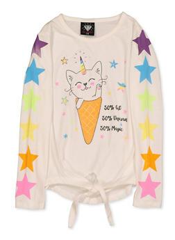 Girls 7-16 Caticorn Cone Graphic Top - 3635075540136