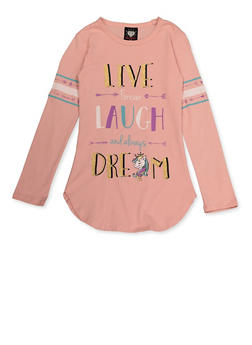 Girls 7-16 Glitter Live Laugh Dream Tee - 3635075540137