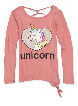 Girls 7-16 Glitter Unicorn Side Tie Tee - 3635075540153
