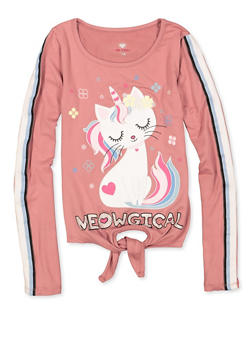 Girls 7-16 Meowgical Caticorn Tie Front Tee - 3635075540162