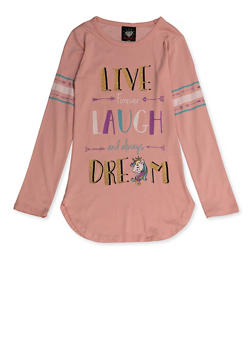 Girls 7-16 Live Laugh Love Glitter Graphic Tee - 3635075540179