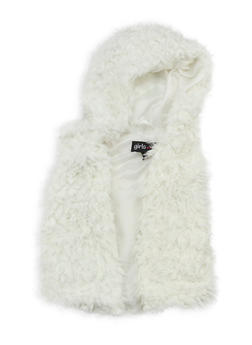 Girls 4-6x Hooded Faux Fur Vest - 3636038340017