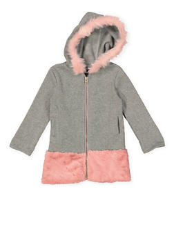 Girls 4-6x Faux Fur Trim Jacket - HEATHER - 3636038340031