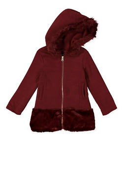 Girls 4-6x Faux Fur Trim Jacket - WINE - 3636038340031