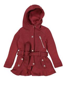 Girls 4-6x Tie Waist Hooded Jacket - 3636038340034