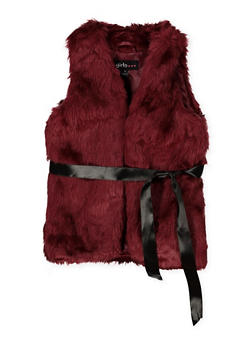 Girls 4-6x Belted Faux Fur Vest - 3636038340036
