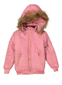 Girls 4-6x Faux Fur Trim Bomber Jacket - 3636038340042