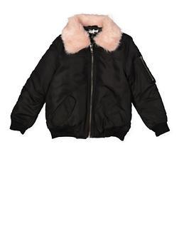 Girls 4-6x Faux Fur Collar Bomber Jacket - 3636038340044