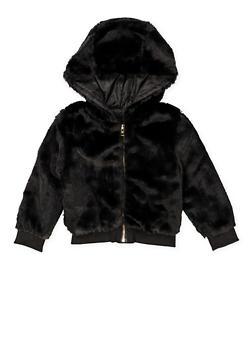 Girls 4-6x Faux Fur Hooded Bomber Jacket - 3636038340045