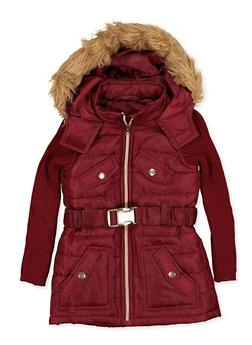 Girls 4-6x Ribbed Sleeve Puffer Jacket - 3636038340060