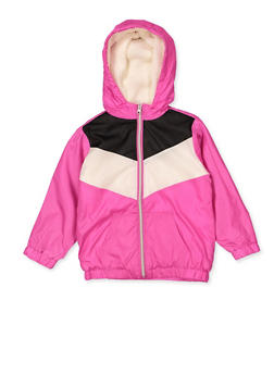 Girls 4-6x Sherpa Lined Color Block Windbreaker - 3636038340067