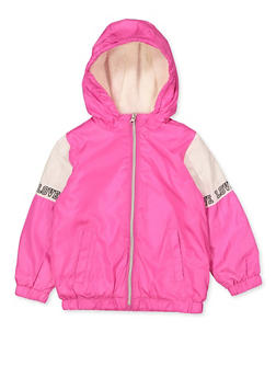 Girls 4-6x Sherpa Lined Love Windbreaker - 3636038340068