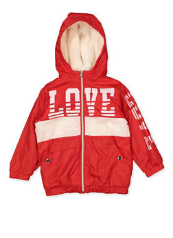 Girls 4-6x Love Sherpa Lined Windbreaker - 3636038340069