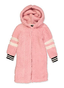 Girls 4-6x Long Hooded Sherpa Jacket - 3636038340072