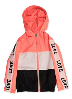 Girls 4-6x Love Trim Color Block Windbreaker - 3636038340076