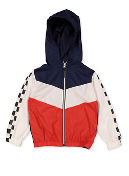 Girls 4-6x Zip Front Color Block Windbreaker - 3636038340077