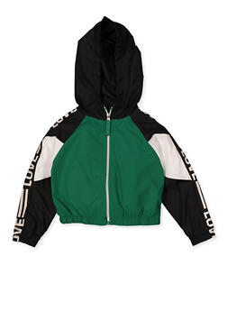 Girls 4-6x Love Color Block Hooded Windbreaker - 3636038340079
