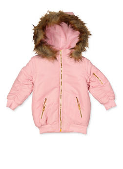 Girls 4-6x Ruched Sleeve Hooded Jacket - 3636038340080