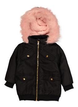 Girls 4-6x Faux Fur Hooded Puffer Jacket - 3636038340082