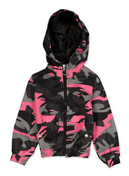 Girls 4-6x Camo Hooded Windbreaker - 3636051060063