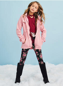 Girls 7-16 Button Front Hooded Jacket - 3637038340040