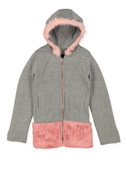 Girls 7-16 Hooded Faux Fur Trim Jacket - 3637038340041