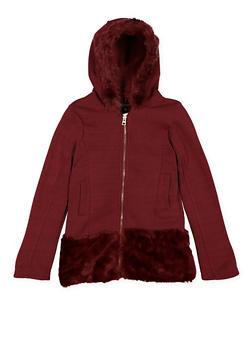 Girls 7-16 Hooded Faux Fur Trim Jacket - 3637038340041