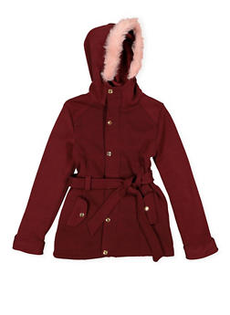 Girls 7-16 Button Front Hooded Jacket - 3637038340043