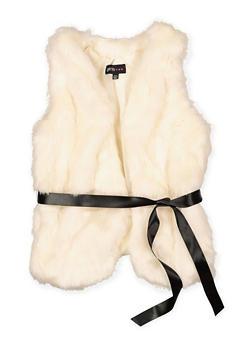 Girls 7-16 Tie Waist Faux Fur Vest - 3637038340047