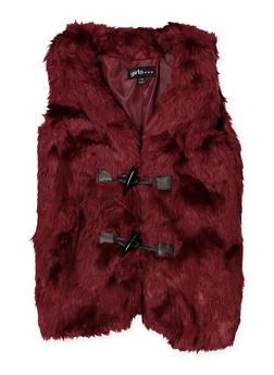 Girls 7-16 Toggle Closure Faux Fur Vest - 3637038340048