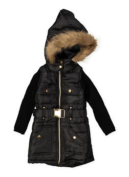 Girls 7-16 Sweater Sleeve Puffer Jacket - BLACK - 3637038340051