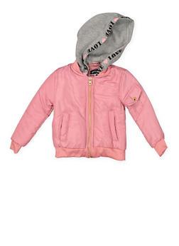 Girls 7-16 Hooded Bomber Jacket - MAUVE - 3637038340052