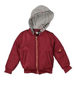 Girls 7-16 Hooded Bomber Jacket - WINE - 3637038340052
