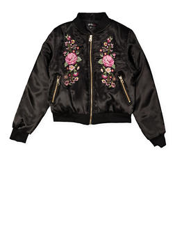 Girls 7-16 Floral Embroidered Satin Bomber Jacket - 3637038340053