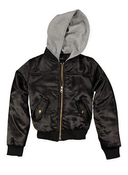 Girls 7-16 Hooded Bomber Jacket - 3637038340054