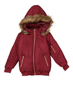 Girls 7-16 Faux Fur Trim Puffer Jacket - 3637038340055
