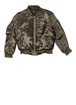 Girls 7-16 Satin Bomber Jacket - 3637038340056