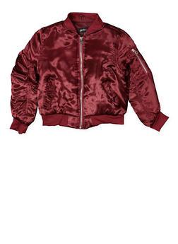 Girls 7-16 Satin Bomber Jacket - WINE - 3637038340056