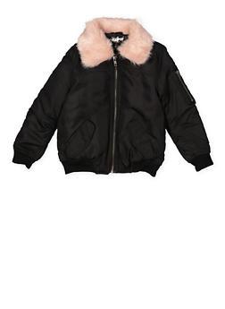 Girls 7-16 Faux Fur Collar Bomber Jacket - BLACK - 3637038340057