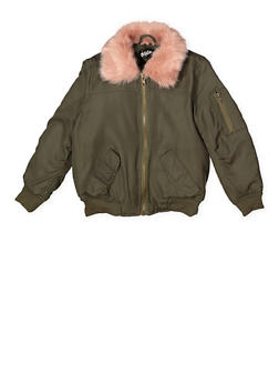 Girls 7-16 Faux Fur Collar Bomber Jacket - 3637038340057
