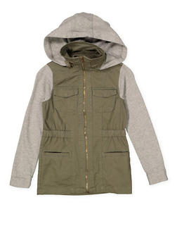 Girls 7-16 Love Graphic Hooded Anorak Jacket - 3637038340065
