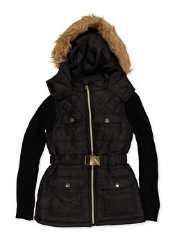 Girls 7-16 Knit Sleeve Hooded Puffer Jacket - 3637038340076