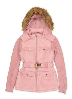 Girls 7-16 Knit Sleeve Hooded Puffer Jacket - 3637038340076