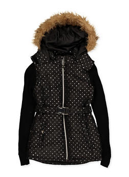 Girls 7-16 Knit Sleeve Puffer Coat - 3637038340077