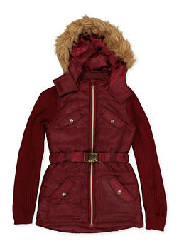 Girls 6x-16 Knit Sleeve Puffer Jacket - 3637038340078
