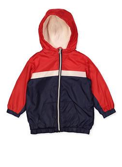 Girls 7-16 Color Block Sherpa Lined Windbreaker - 3637038340081